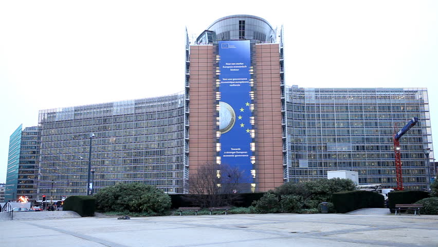 BRUSSELS, BELGIUM - DECEMBER 20: Traffic in front of European Commission Building in Brussels, Belgium on December 20, 2011. - HD stock footage clip
