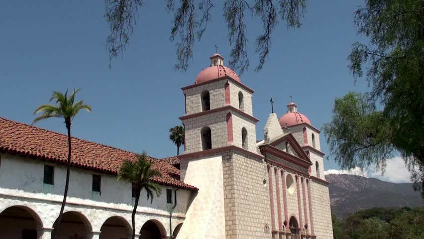 The capilla (chapel) at Mission Santa Barbara (California, USA). - HD stock video clip