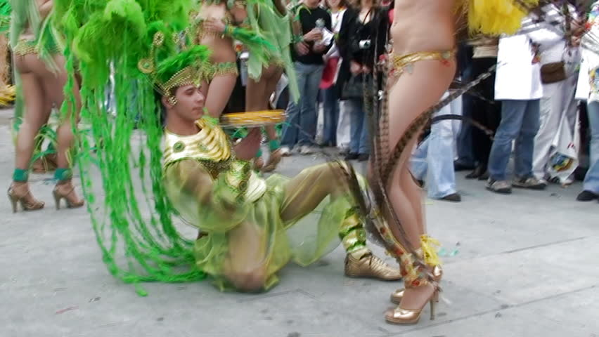 SESIMBRA, PORTUGAL - FEBRUARY 24: Brazilian Carnival, celebrating the carnival event February 24, 2009 in Sesimbra, Portugal  - HD stock video clip
