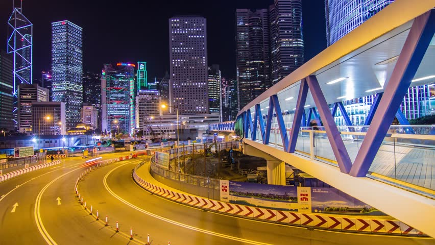 Time Lapse of Night Traffic in Central, Hong Kong. Photo Sequence shot on DSLR camera and Post-Production in After Effects