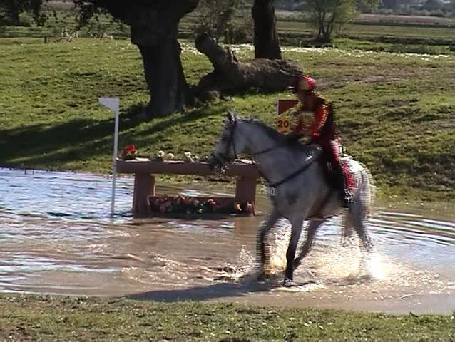 Horseman jumping the fence in the water - SD stock video clip