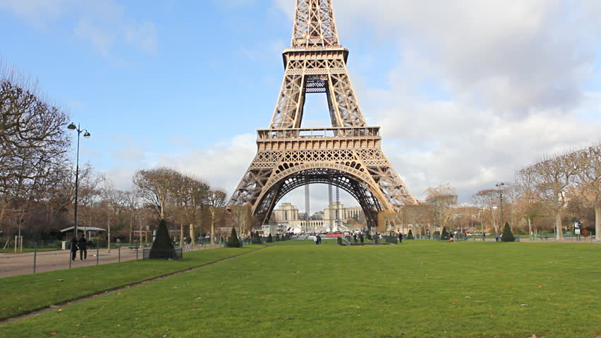 View From The Bottom Of The Eiffel Tower In Paris, France