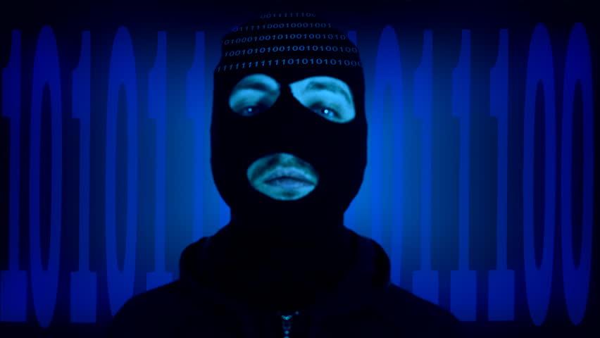 Data Thief wearing a hood in a digital world
