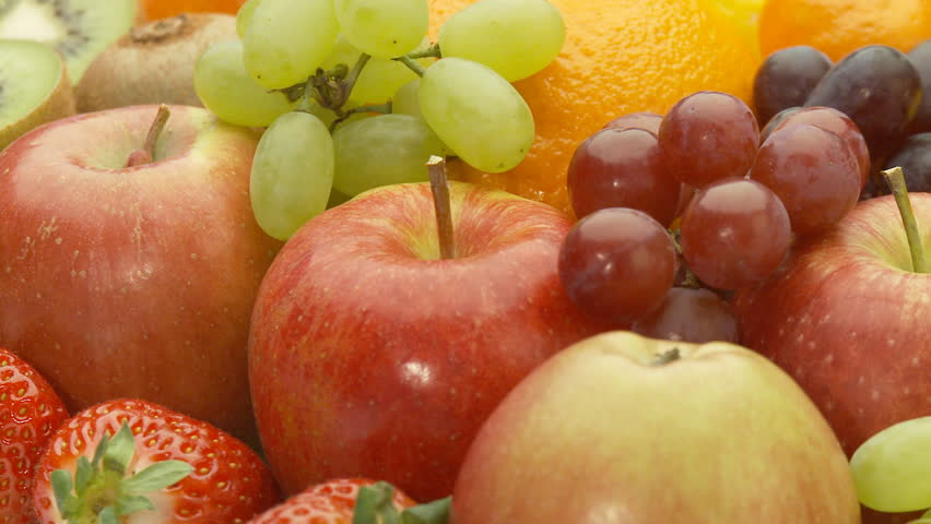 close view of different fresh fruits, seamless loop part I of II