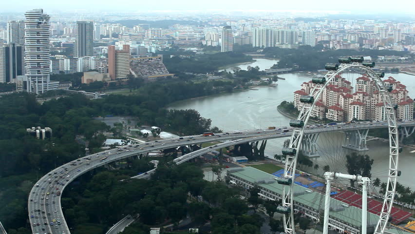 SINGAPORE - JANUARY 28, 2011Aerial View of Singapore, East Coast PKWY Highway near Singapore Flyer, Kallang - HD stock footage clip
