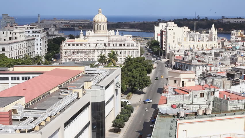 Aerial View Of Havana Cuba Looking Towards The National Museum of Fine Arts of Havana (Museo Nacional de Bellas Artes de La Habana), And The Spanish Embassy And The Malecon Promenade