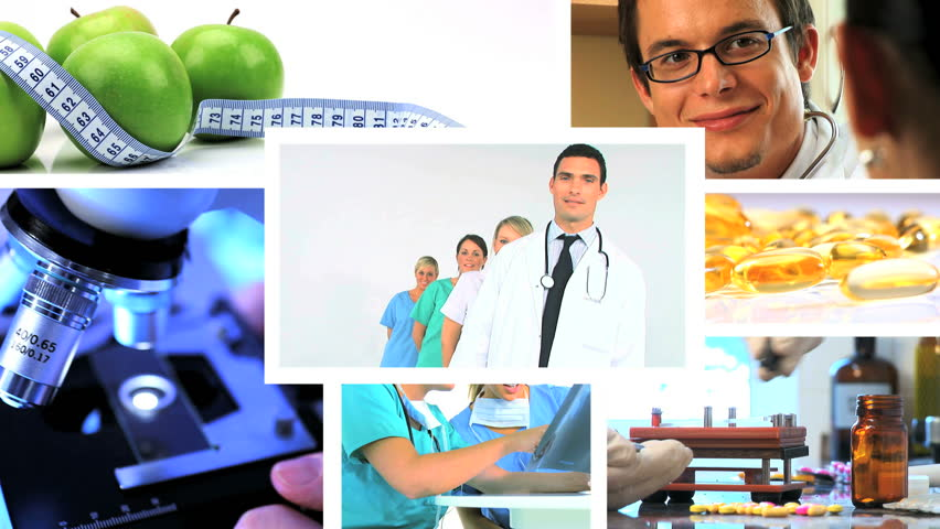 Montage of multiple images for healthy living - HD stock video clip