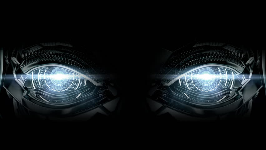 Cool high-tech metal eyes that blink / Stylish robotic blinking eyes - HD stock video clip