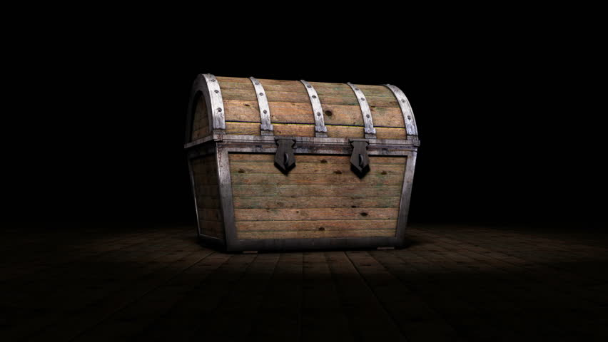 Treasure chest opening to reveal glowing white light inside and then transitioning inside the chest