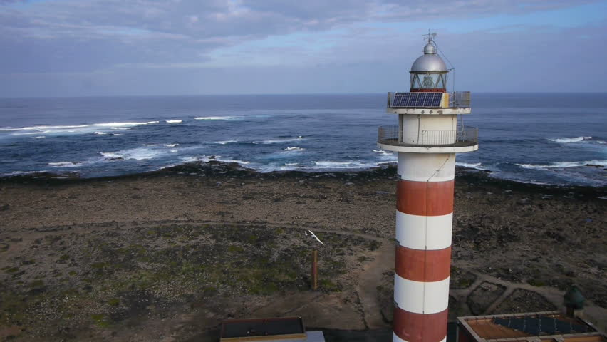 AERIAL: Flight over the lighthouse - HD stock footage clip
