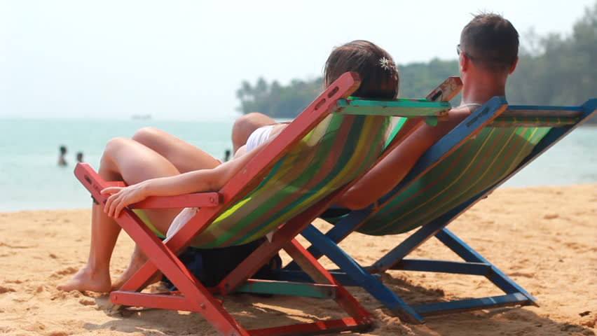 loving couple on the beach - HD stock video clip
