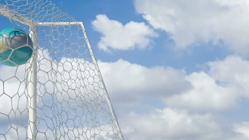 Argentinian Ball Scores with Sky Background - HD stock footage clip