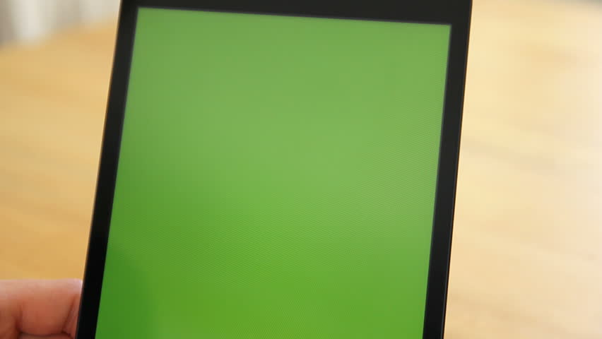 Woman Using Tablet on Wood Table w/Various Hand Gestures Close Up - Green Screen