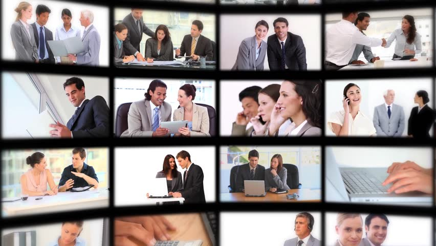 Montage with different screens presenting people at work - HD stock video clip