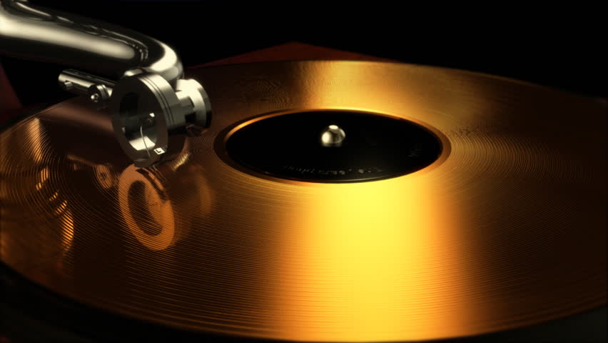 Computer-rendered animation of  gramophone and turning long-playing record