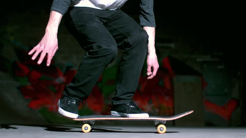 Skater performing impossible 360 trick in slow motion - HD stock footage clip