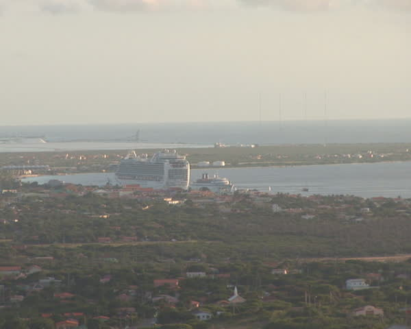 PAL: Bonaire overview with cruise ship - SD stock video clip