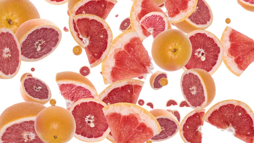 Falling Grapefruits as background video with black Alpha video (from 0:15 to 0:30) - HD stock footage clip