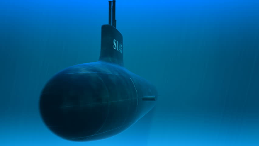 3d animation of swimming submarine. A deep-diving submarine used to explore the ocean is called a submersible. Submersibles are usually smaller than submarines - HD stock video clip