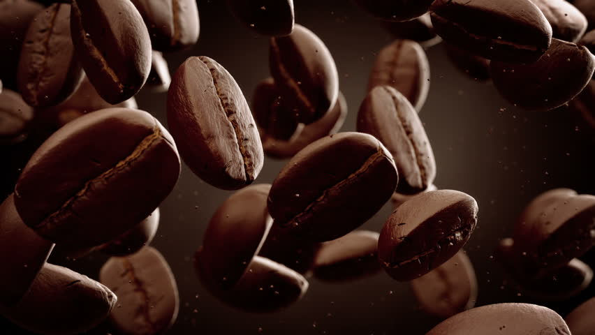 Roasted coffee beans with coffee dust falling down in front of dark background. Slow motion CG animation.