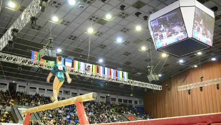 KIEV - MAR 31: Stella Zakharova Cup, International sport gymnastics competition on March 31, 2013 in Kiev, Ukraine. 14 countries take part in the tournament.