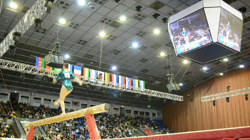KIEV - MAR 31: Stella Zakharova Cup, International sport gymnastics competition on March 31, 2013 in Kiev, Ukraine. 14 countries take part in the tournament. Aliya Mustafina (Russia) on the beam.