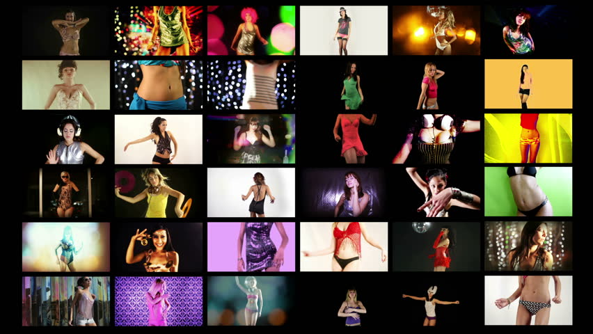 a video wall of HD screens made up from different disco and sexy club dancers. All content is from my own collection and model released