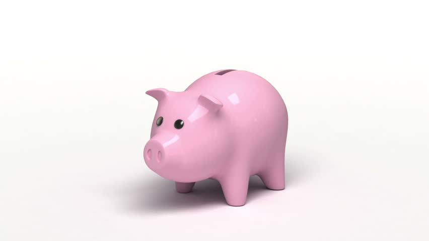 Piggy bank, 3d animation with a sound - HD stock video clip