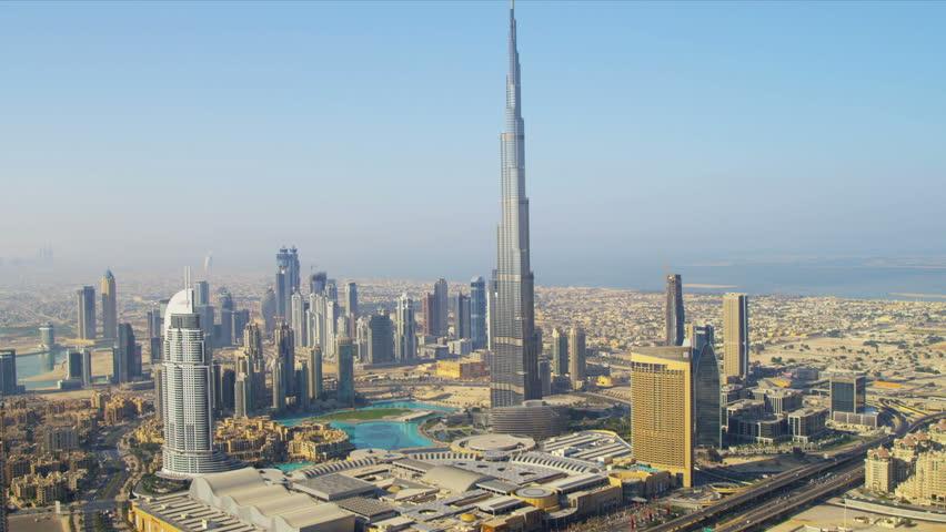 DUBAI, UNITED ARAB EMIRATES - November 18, 2012: Aerial view Burj Khalifa Lake and Burj Khalifa downtown Dubai