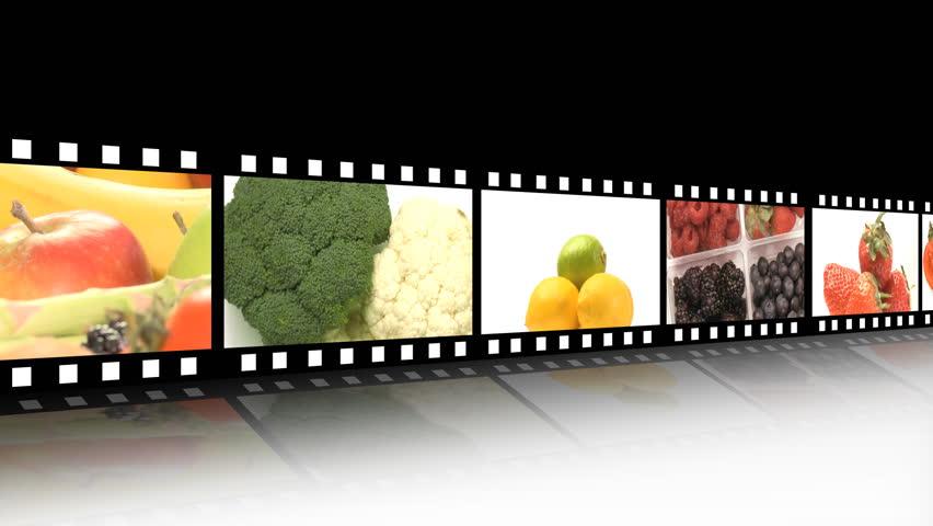 Fruit/vegetables film reel - HD stock footage clip