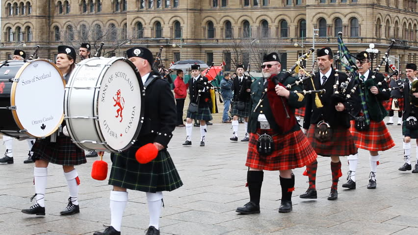 OTTAWA, CANADA 7 April 2013: Canadians celebrate their Scottish heritage at the 20th Anniversary of Tartan Day In Canada, highland dancers and pipe bands entertained crowds on Parliament Hill, Ottawa
