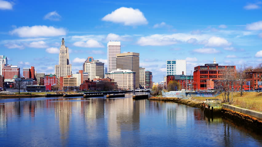 Providence, Rhode Island, USA downtown skyline on the river. - HD stock video clip