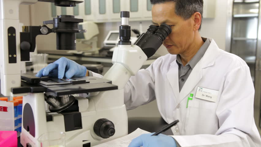 Scientist in laboratory examining specimen through microscope and writes down observations. Shot on Canon 5d Mk2 with a frame rate of 30fps - HD stock footage clip