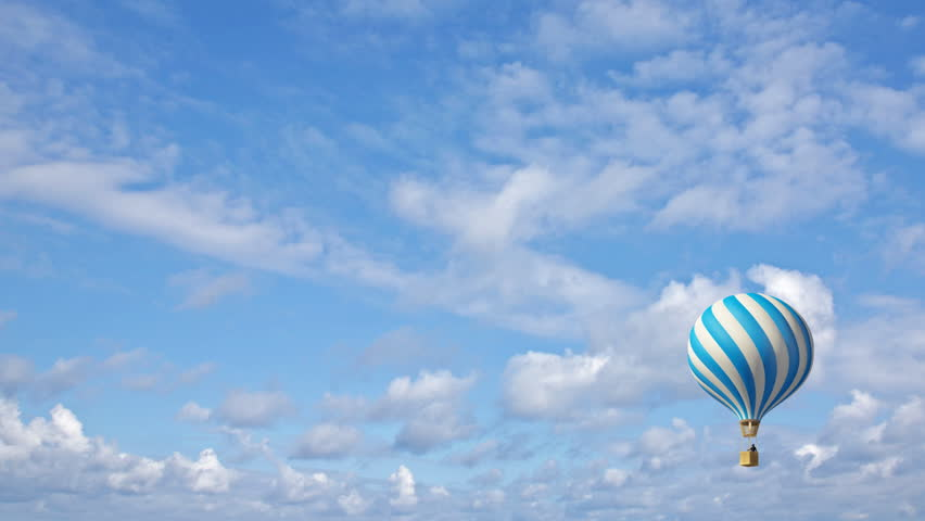 Hot Air Balloon In The Blue Sky Stock Footage Video 379861 ...