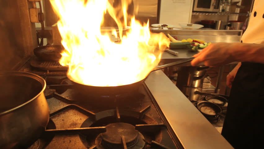 Flambe chef - HD stock video clip