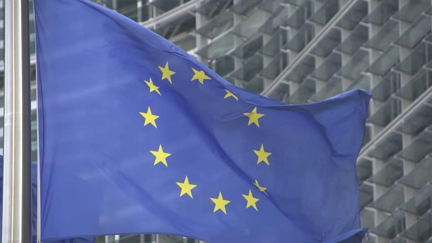 EU flag  slow motion