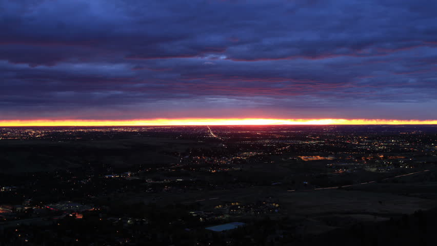 Sunrise over Denver - HD stock footage clip