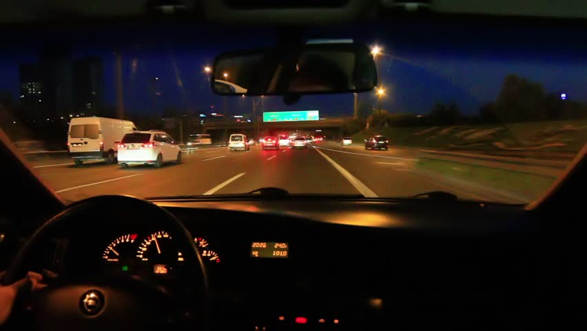 freeway driving night driving from car interior hd stock video clip. Black Bedroom Furniture Sets. Home Design Ideas