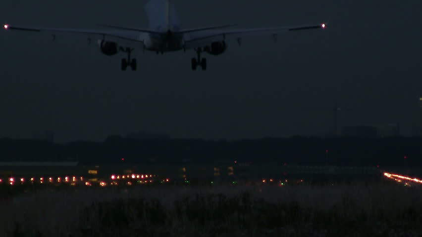 Airliner landing at night