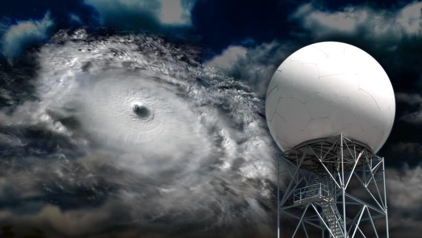 A doppler radar examines a hurricane. - HD stock video clip