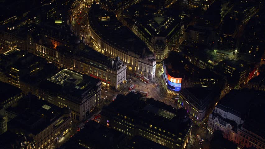 LONDON - MARCH 28: Aerial night-time view of Piccadilly Circus in Central London March 28, 2013 in London, England.