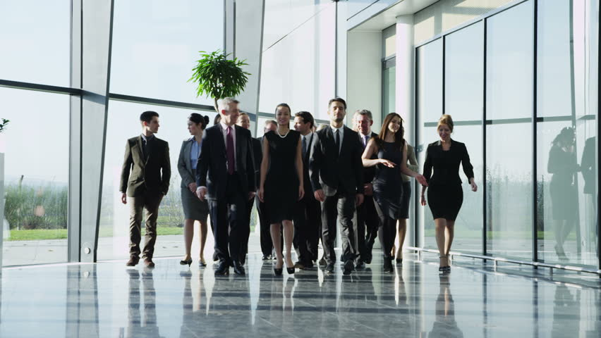 Portrait of an attractive multi-racial business team, as they walk through  a light and modern glass fronted office building towards the camera. In slow motion.