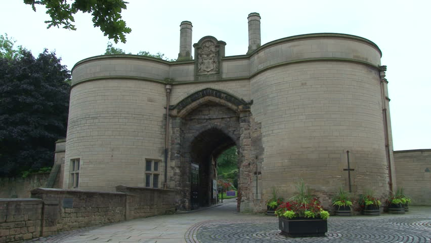 The gates of Nottingham Castle in England. - HD stock footage clip