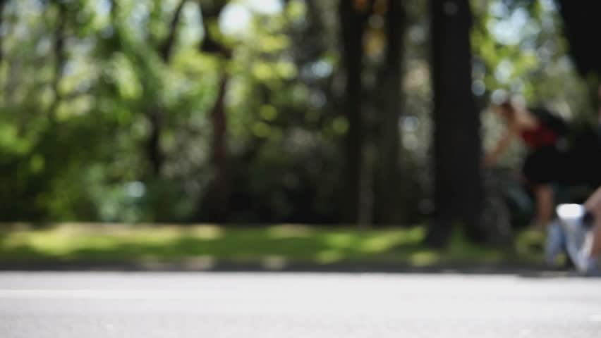 marathon runners from side, loop