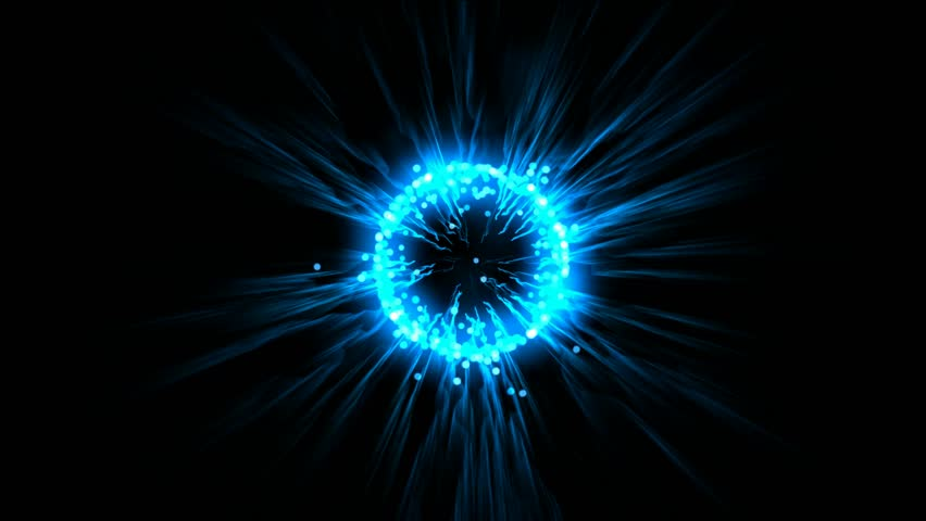 blue flare ball & fiber optic laser,flying particles,energy tech background.