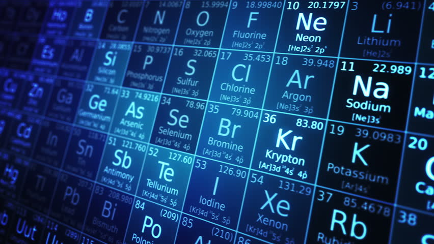 Periodic table. Blue. Periodic table of elements animation. Loop-able. Two colors to choose.  - HD stock video clip