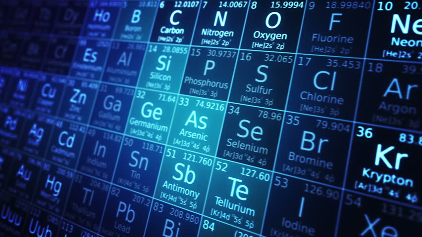Periodic table of elements animation. Loopable. Blue. Two colors to choose.  - HD stock video clip