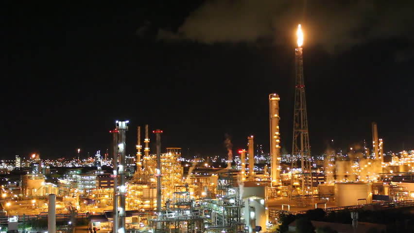 Night scene of petrochemical plant , Eastern Thailand - HD stock video clip