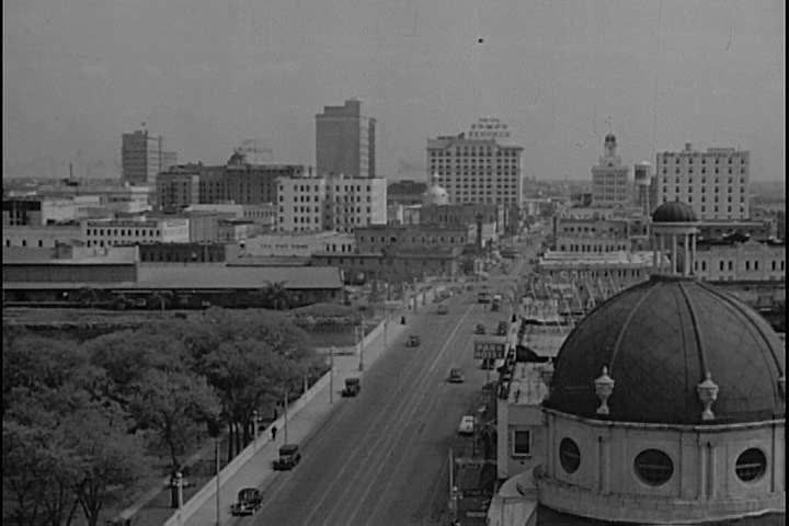 1940s - Establishing shots of San Francisco, New York and Tampa in 1946.