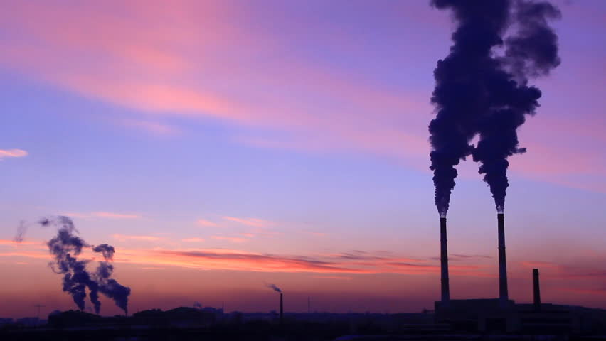 Heat electropower station with two fuming chimney and beautiful sunset - HD stock video clip